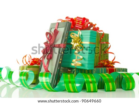 Christmas presents against white background - stock photo