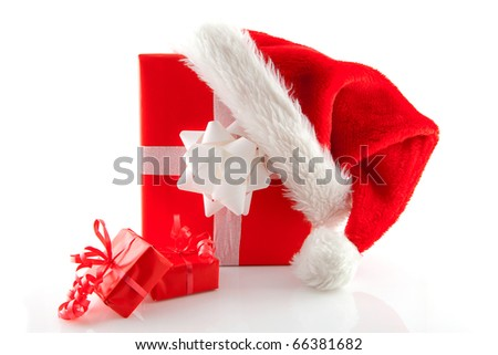 christmas presents and hat isolated on white background