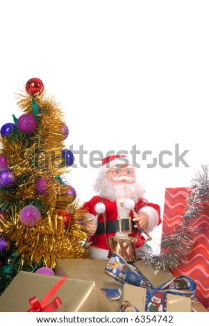 Christmas presents, shopping bags, decorated Xmas tree surrounded with festoons, white background, copy space - stock photo
