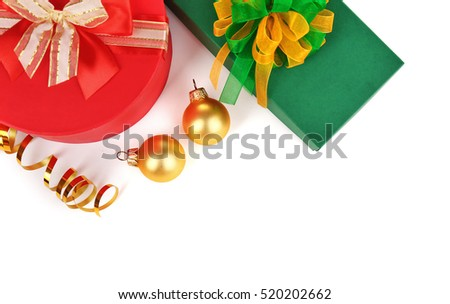 Christmas presents with decorations on white background