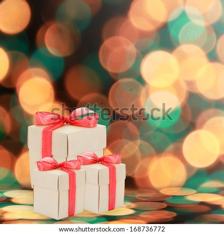 Christmas preset boxes on holiday background