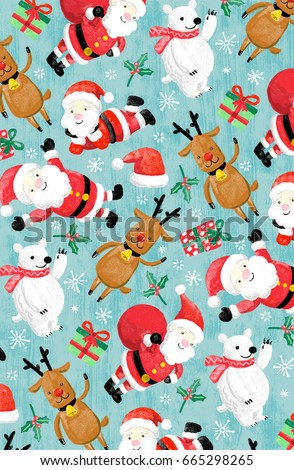 christmas print cute cartoon characters hand drawn pattern santa reindeer hat present polar bear winter scarf - Cartoon Characters To Print