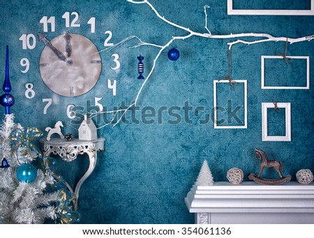 Christmas prop decoration wall clock - stock photo