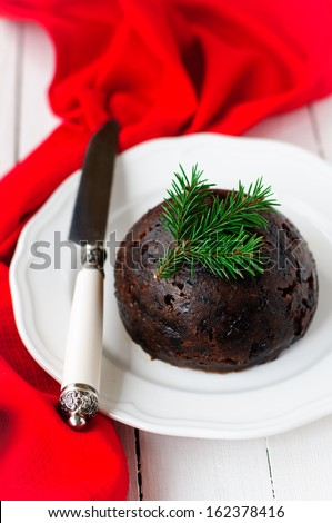 Christmas Pudding, copy space for your text - stock photo