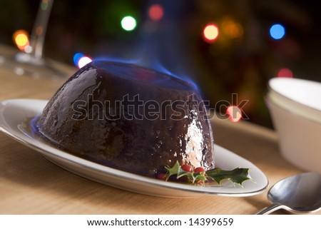 Christmas Pudding with a Brandy Flamb�© - stock photo