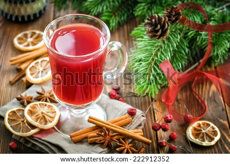 Christmas punch with cinnamon and anise - stock photo