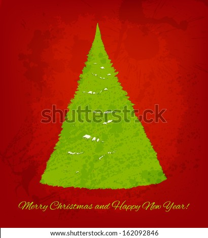 Christmas raster background with hand drawn fir tree