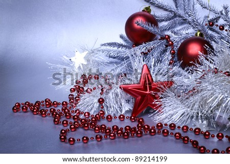 Christmas red and silver decoration with fir tree