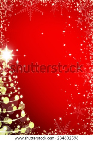Christmas red background with snowflakes frame and Christmas tree - stock photo