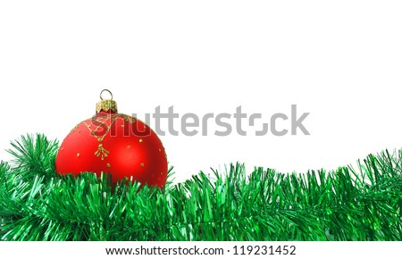 Christmas red Ball and garland on Isolated Background - stock photo