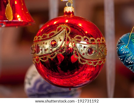 Christmas red ball for sale in Christmas market - stock photo