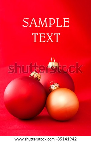 Christmas red balls ornament close up - stock photo