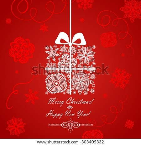 Christmas red card with gift box - stock photo