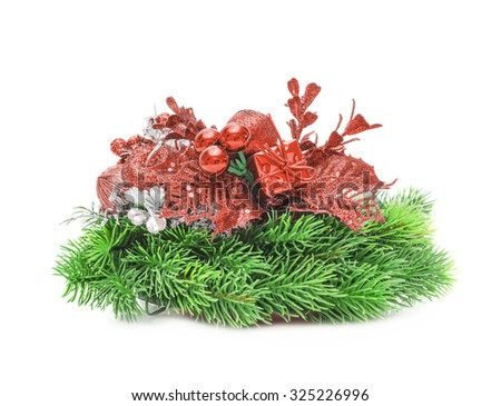 Christmas red decoration. Holiday New year decorations Isolated on white background