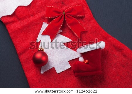 christmas red decoration over grey background christmas concept