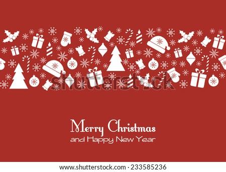 Christmas red greeting card. Raster version - stock photo