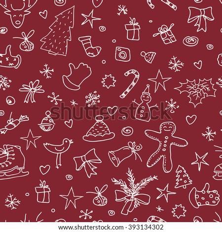 Christmas red seamless pattern. Hand drawn. Raster version. - stock photo