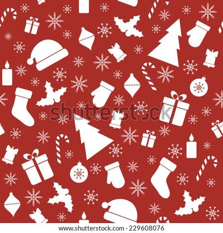 Christmas red seamless pattern. Raster version - stock photo
