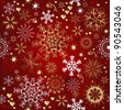 Christmas red seamless pattern with gold and white snowflakes - stock photo