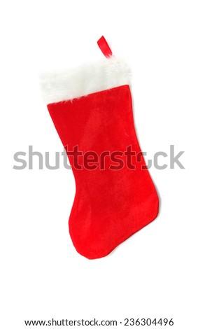 Christmas Red Stocking isolated on white - stock photo