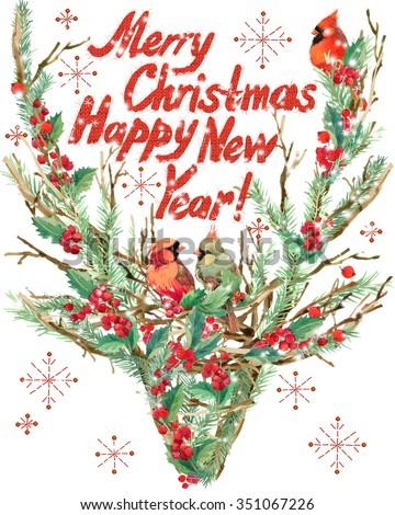 Christmas reindeer and bird. Wish text Merry Christmas and Happy New Year. watercolor winter holidays background. Christmas tree, reindeer, holly branches, mistletoe berry, snowflake. Holiday Design  - stock photo