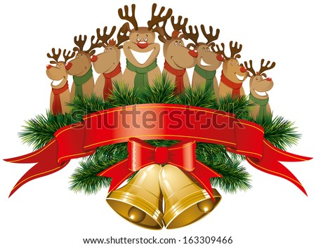 Christmas reindeer with christmas bells and tree - stock photo