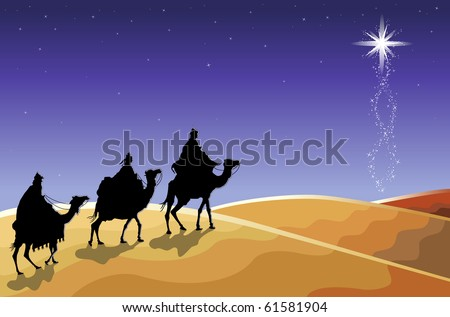 Christmas religious card with The Three Magi following the rising star.
