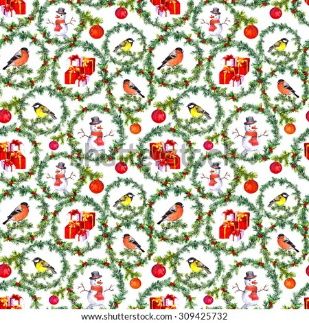 Christmas repeating pattern - pine tree circles with winter birds, present boxes, snowman and baubles decor. Watercolor - stock photo
