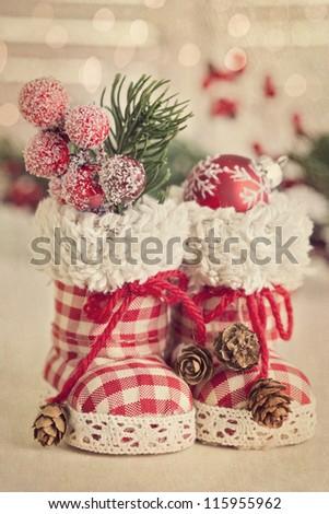 Christmas retro boots on white background - stock photo