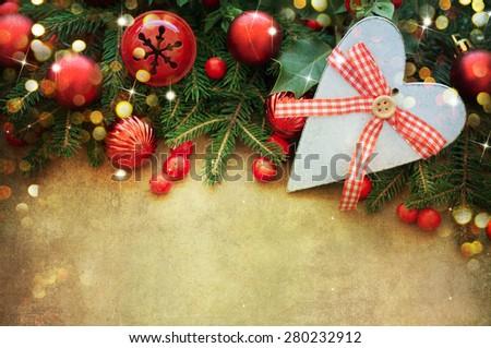 Christmas Retro Card border design - stock photo