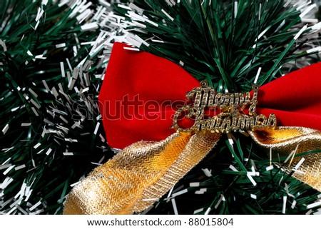 Christmas Ribbon Decoration - stock photo