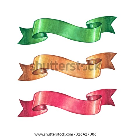 Christmas ribbon design elements, watercolor illustration isolated on white background - stock photo