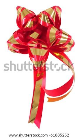 Christmas ribbon. Isolated - stock photo