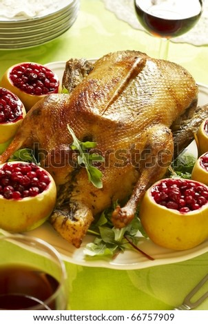 Christmas roast goose with apples stuffed with cranberries - stock photo