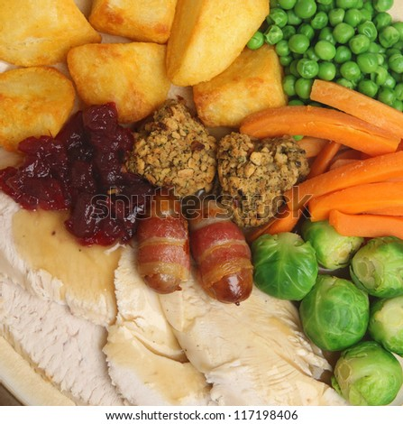 Christmas roast turkey dinner with traditional trimmings. - stock photo