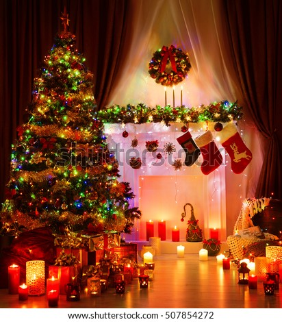 Christmas Room and Lighting Xmas Tree, Hanging Socks on Fireplace, Eve Magic Night Interior
