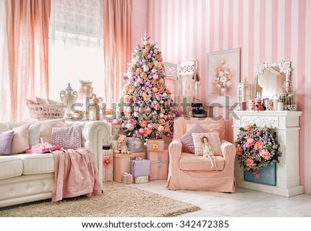 Christmas Room Interior Decorations Studio Stock Photo 342472385 ...