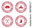 Christmas rubber stamps. Vector available. - stock photo