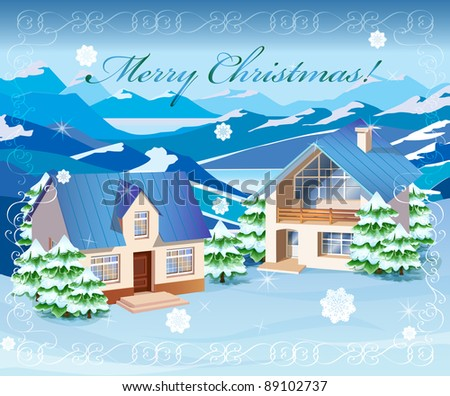Christmas rural landscape - stock photo