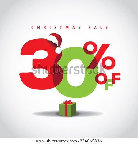 Christmas sale big bright overlapping design 30% off  - stock photo