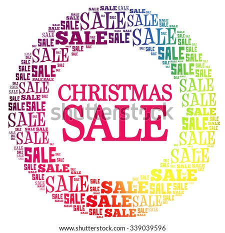 CHRISTMAS SALE circle word cloud, business concept background - stock photo
