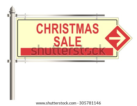Christmas sale. Road sign on the white background. Raster illustration. - stock photo