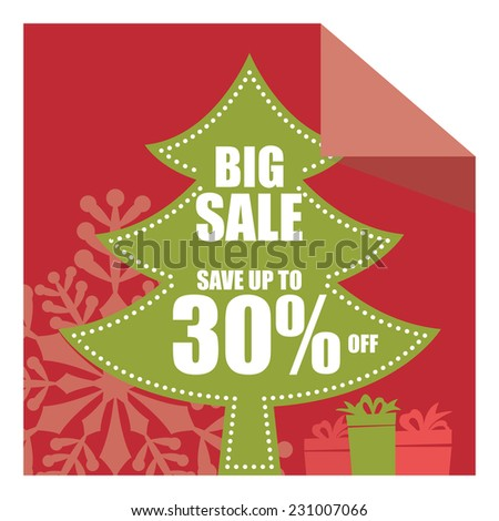 Christmas Sale, X'Mas Sale, Red Big Sale Save Up To 30% Off on Christmas Tree Tag, Sticker or Label Isolated on White Background - stock photo