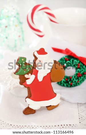 Christmas Santa cookies decorated with jam on the white background