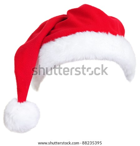 Christmas santa hat isolated on white background. designed to easily put on persons head. - stock photo