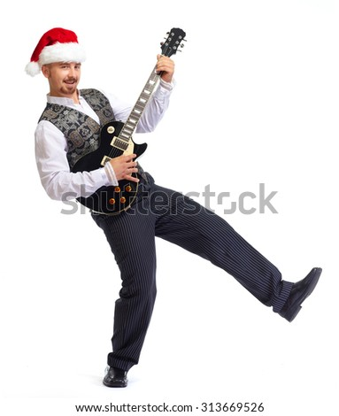 Christmas santa man with electric guitar isolated white background.