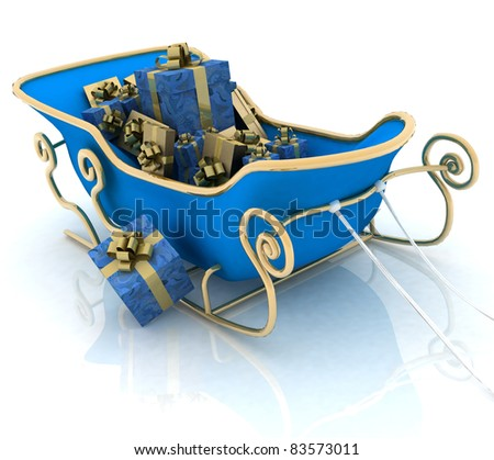 Christmas Santa sledge with gifts on a white background - stock photo