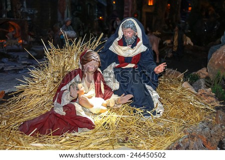 Christmas scene; Jesus Christ, Mary and Josef - stock photo