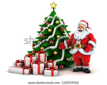 christmas scene santa claus christmas tree and presents - Santa Claus Tree