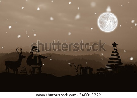 Christmas scene silhouette against trees and mountain range against cloudscape - stock photo